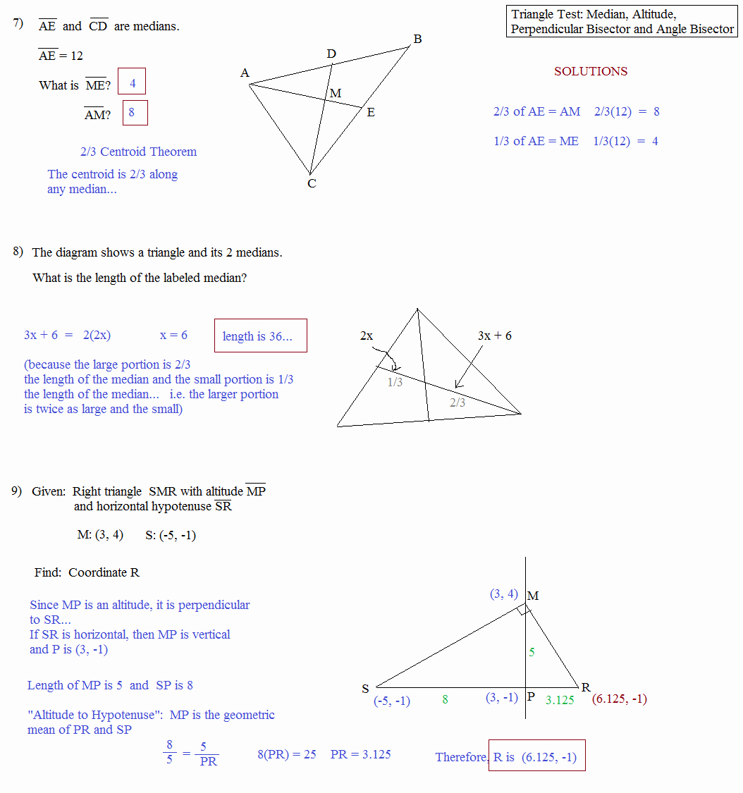 Points Of Concurrency Worksheet Answers Beautiful Math Plane Triangle Parts Median Altitude Bisectors