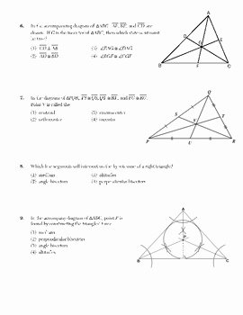 Points Of Concurrency Worksheet Answers Best Of Triangle Concurrency Centroid orthocenter Incenter