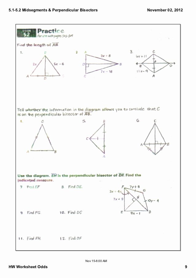 Points Of Concurrency Worksheet Answers Elegant 5 1 5 2 Notes