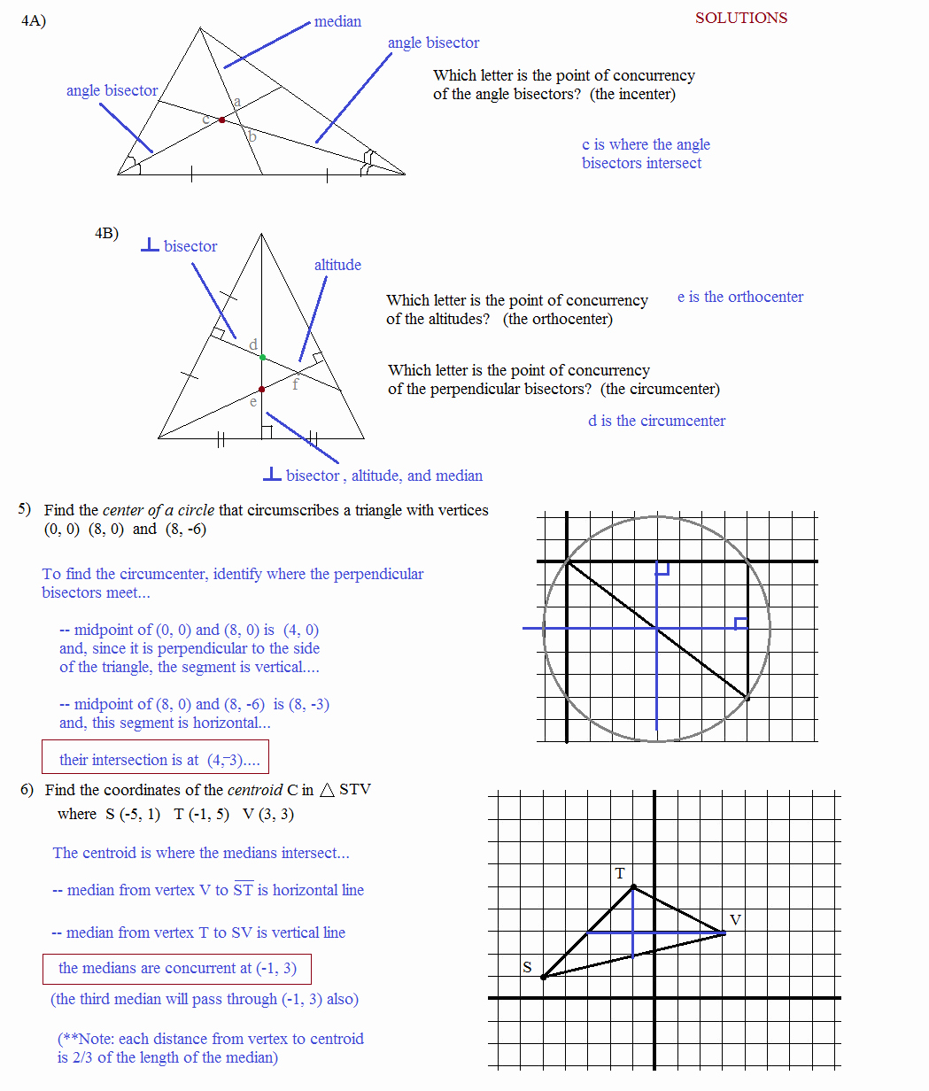 Points Of Concurrency Worksheet Answers Inspirational Math Plane Triangle Parts Median Altitude Bisectors