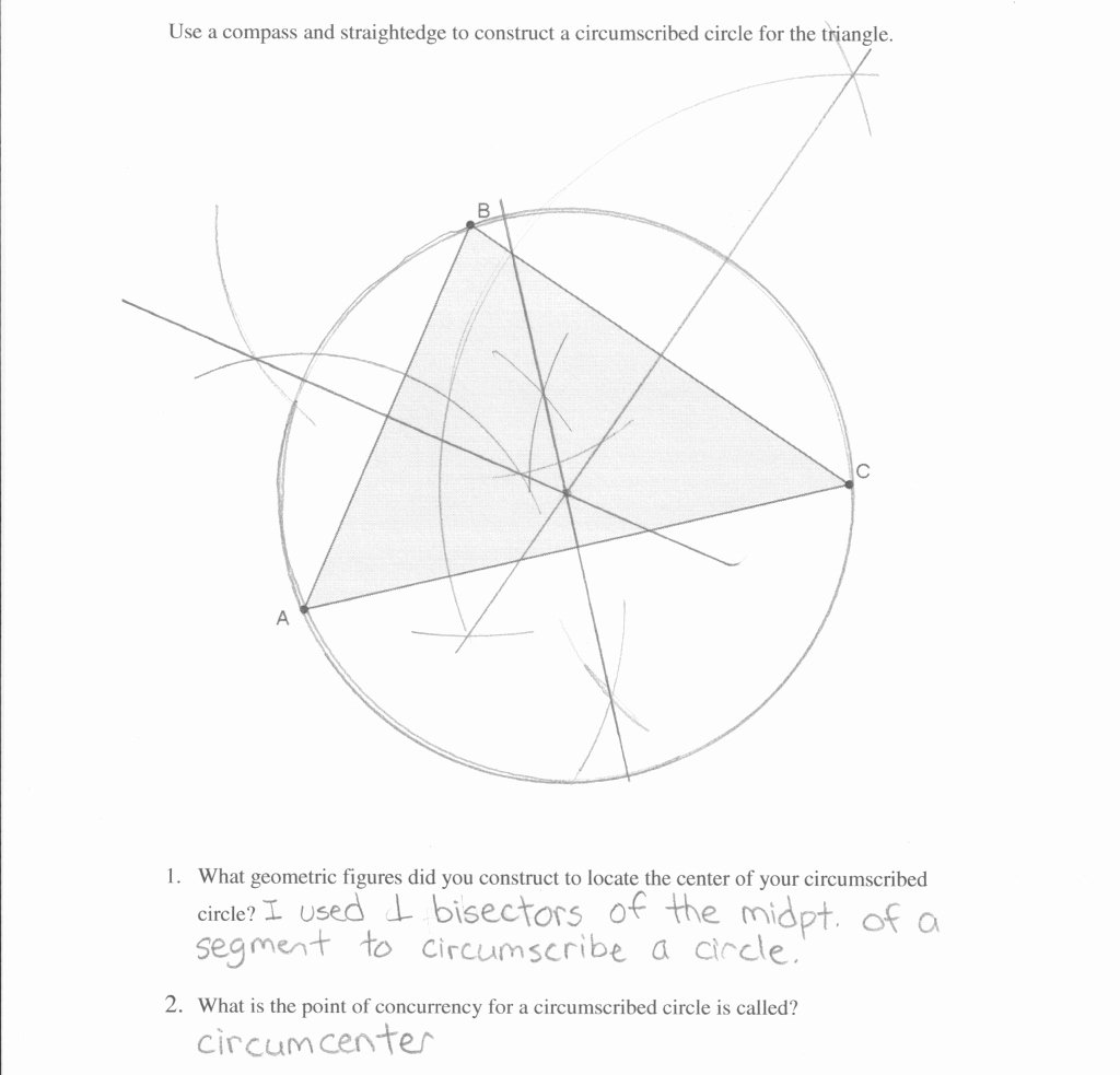 Points Of Concurrency Worksheet Answers Lovely Our Review Of Circumscribed Circle Construction Students