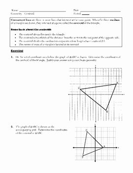 Points Of Concurrency Worksheet Answers Lovely Triangle Concurrency Centroid orthocenter Incenter