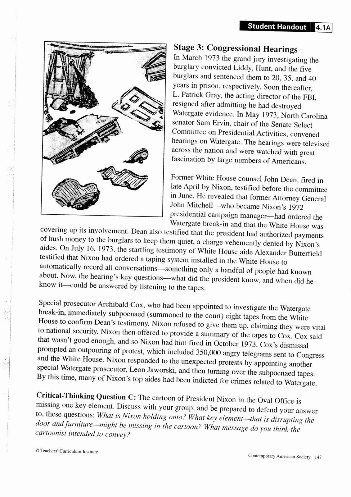 Political Cartoon Analysis Worksheet Elegant Mr Bravo S Pod Blog 1 4 Watergate Political Cartoon