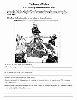 Political Cartoon Analysis Worksheet Fresh League Of Nations Political Cartoon Primary source for U S