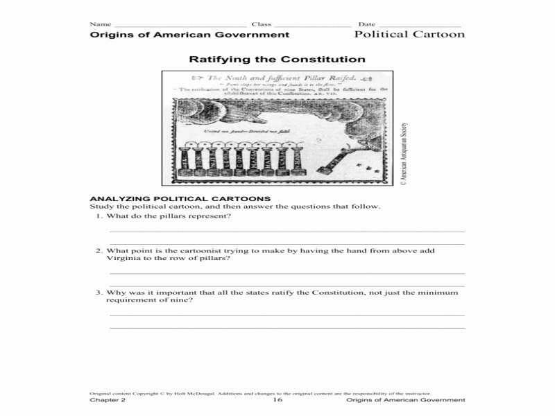 Political Cartoon Analysis Worksheet Fresh Political Cartoon Ratifying the Constitution Free