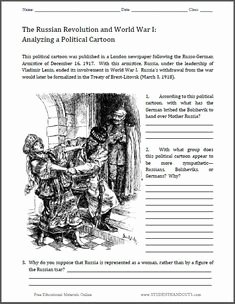 Political Cartoon Analysis Worksheet Fresh Russian Revolution On Pinterest