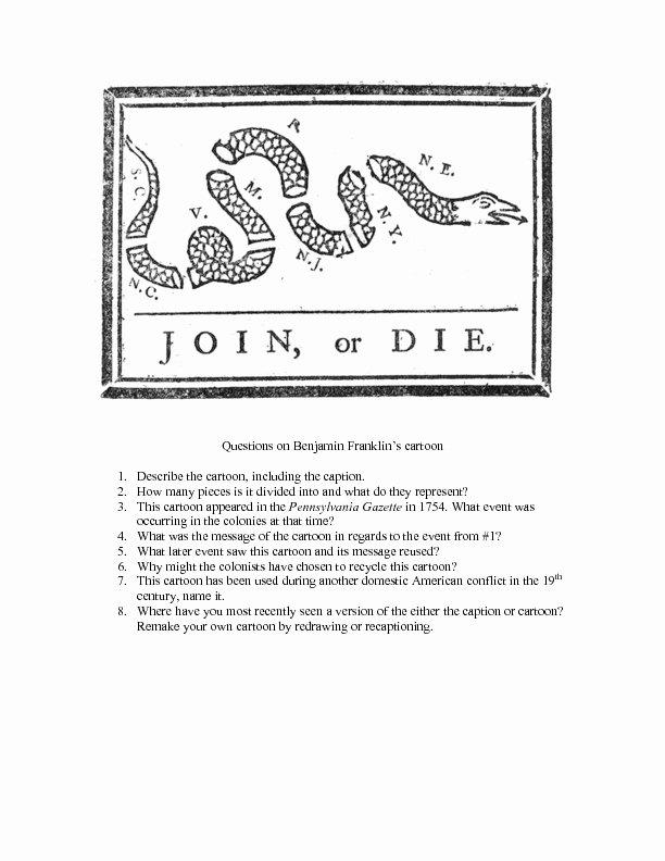 Political Cartoon Analysis Worksheet Luxury Questions On Benjamin Franklin's Cartoon Worksheet for 8th