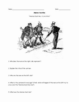 Political Cartoon Analysis Worksheet Unique Monroe Doctrine Political Cartoon Worksheet Ans Answer Key