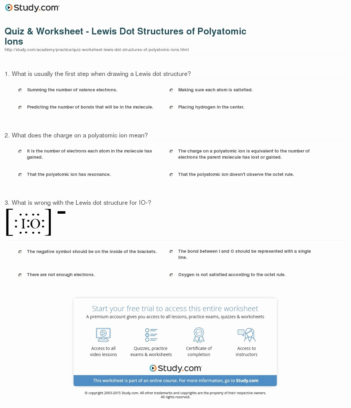 Polyatomic Ions Worksheet Answers Awesome Quiz & Worksheet Lewis Dot Structures Of Polyatomic Ions