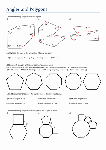 Polygon and Angles Worksheet Awesome Angles and Polygons by Tristanjones Teaching Resources Tes