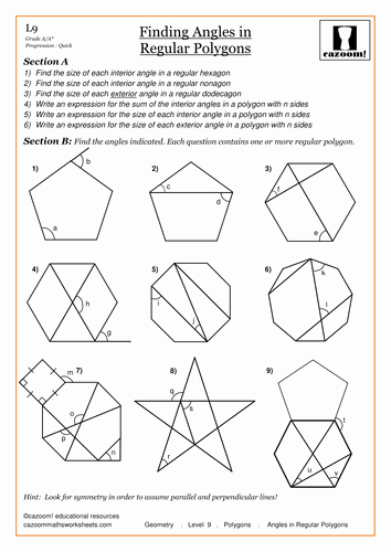 Polygon and Angles Worksheet Beautiful Angles In Polygons by Cazoommaths Teaching Resources Tes