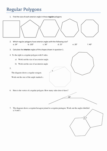 Polygon and Angles Worksheet Best Of Ks4 Maths Angles In Regular Polygons Worksheet by