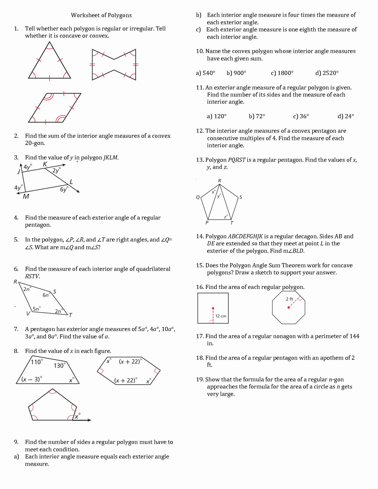 Polygon and Angles Worksheet Elegant 7 Best Of Irregular Polygon Shapes Worksheets