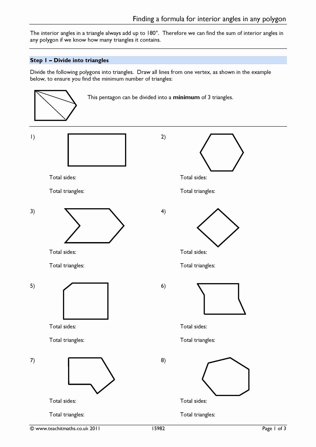 Polygon and Angles Worksheet Elegant Worksheet Interior Angles A Polygon Worksheet Grass