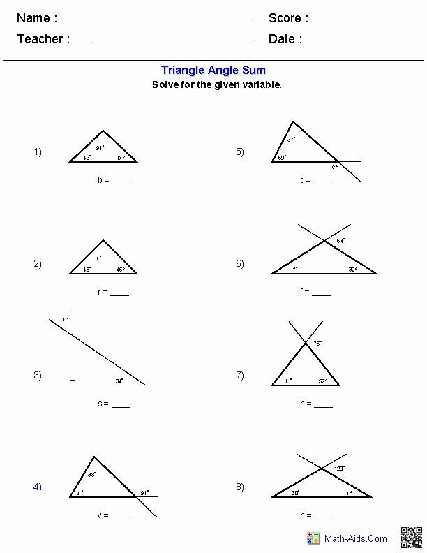 Polygon and Angles Worksheet Inspirational Triangle Angle Sum Worksheets Places to Visit