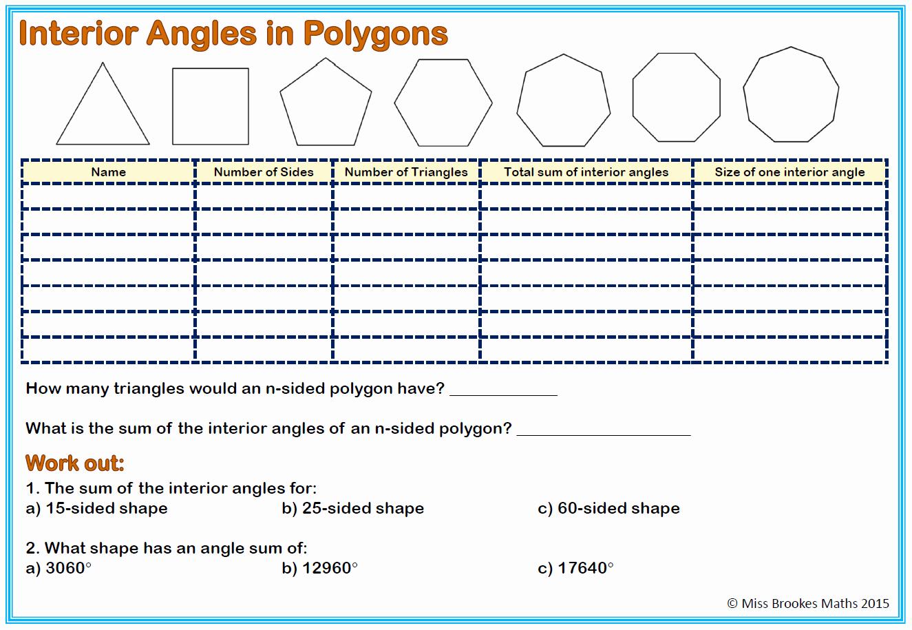 Polygon and Angles Worksheet Luxury Worksheet Interior Angles A Polygon Worksheet Grass