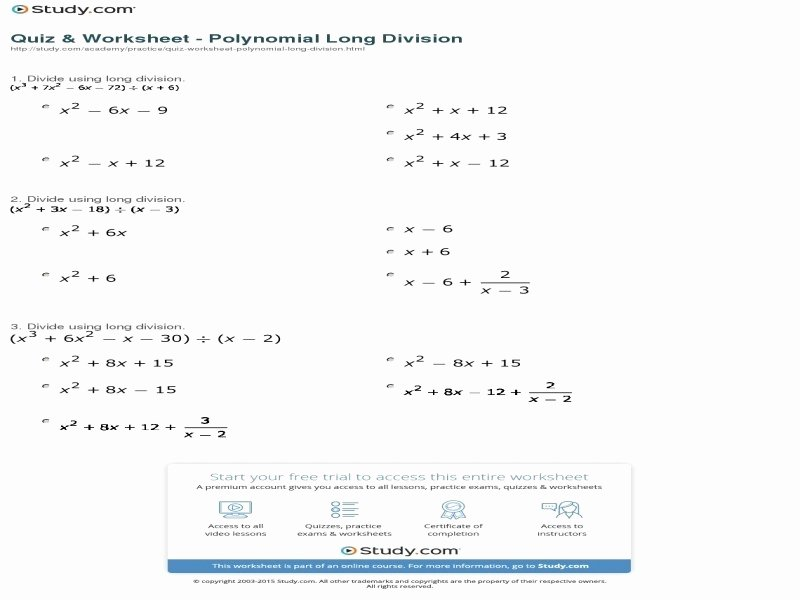 Polynomial Long Division Worksheet Awesome Transformations Quadratic Functions Worksheet Free