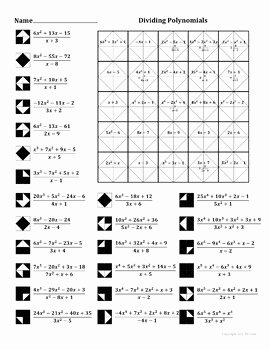Polynomial Long Division Worksheet Inspirational Dividing Polynomials Color Worksheet by Aric Thomas