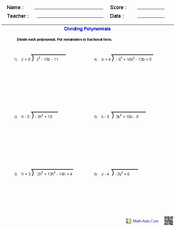 Polynomial Long Division Worksheet Lovely Algebra 1 Worksheets