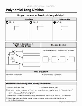 Polynomial Long Division Worksheet Lovely Polynomial Long Division Lesson by Algebra and Beyond