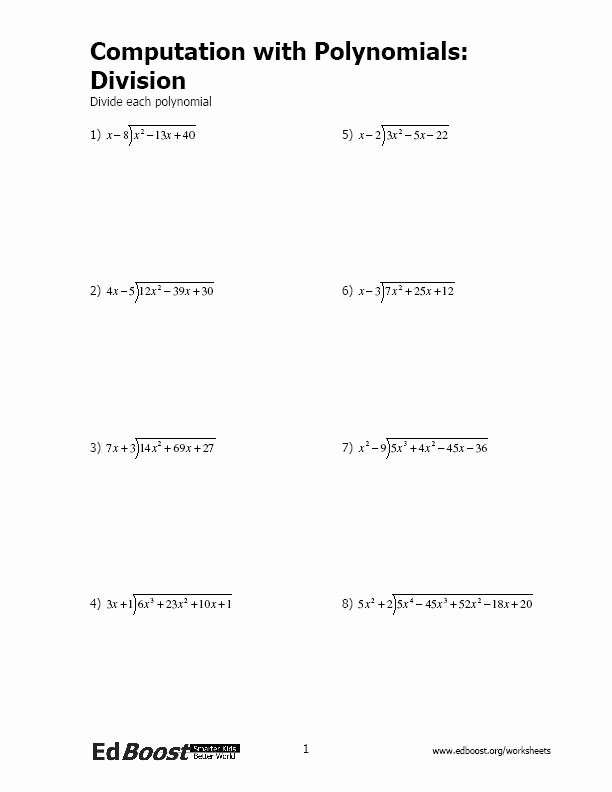 Polynomial Long Division Worksheet Luxury Putation with Polynomials Division