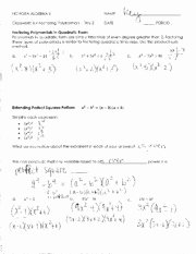 Polynomial Word Problems Worksheet Luxury Factoring Polynomials Questions with Answers Algebra I