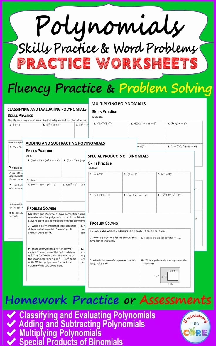 Polynomial Word Problems Worksheet Luxury Polynomials Homework Worksheets Skills Practice & Word