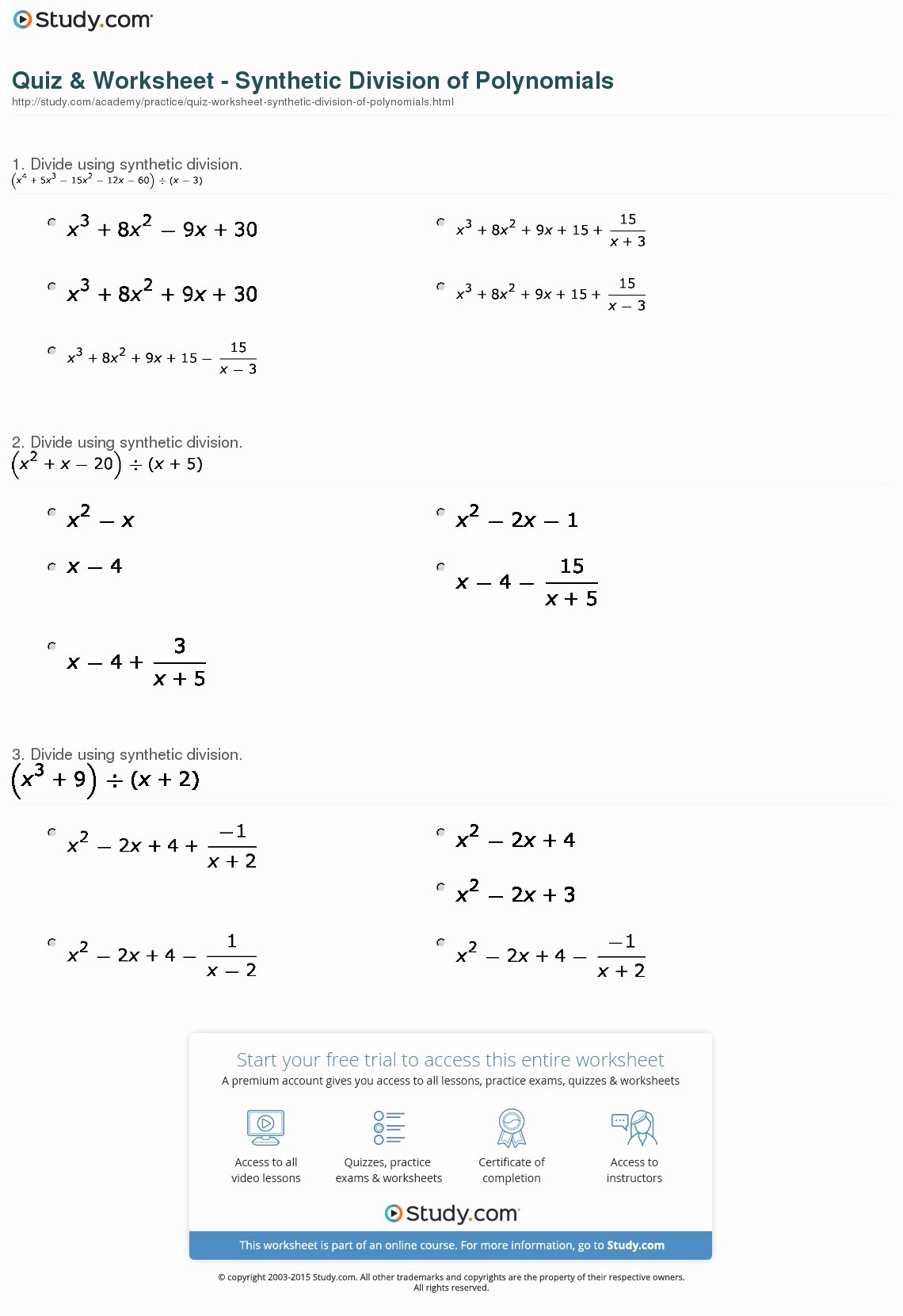 Polynomials Worksheet with Answers Beautiful Quiz & Worksheet Synthetic Division Of Polynomials