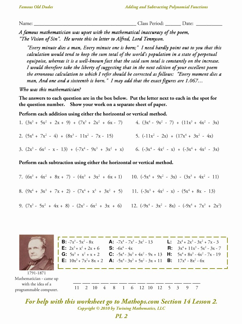 Polynomials Worksheet with Answers Best Of Adding and Subtracting Polynomials Color by Number
