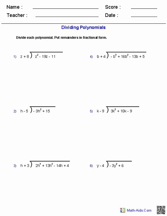 Polynomials Worksheet with Answers New Dividing Polynomials Worksheet Answers