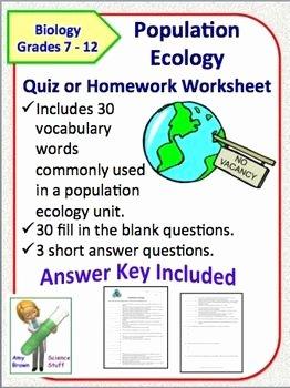 Population Ecology Graph Worksheet Elegant Population Ecology Quiz School Stuff