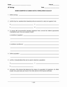Population Ecology Graphs Worksheet Answers Luxury Population Ecology Worksheet for 9th Higher Ed