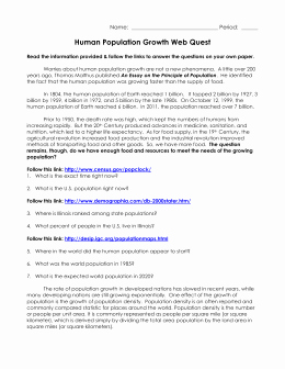 Population Growth Worksheet Answers Awesome Population Webquest