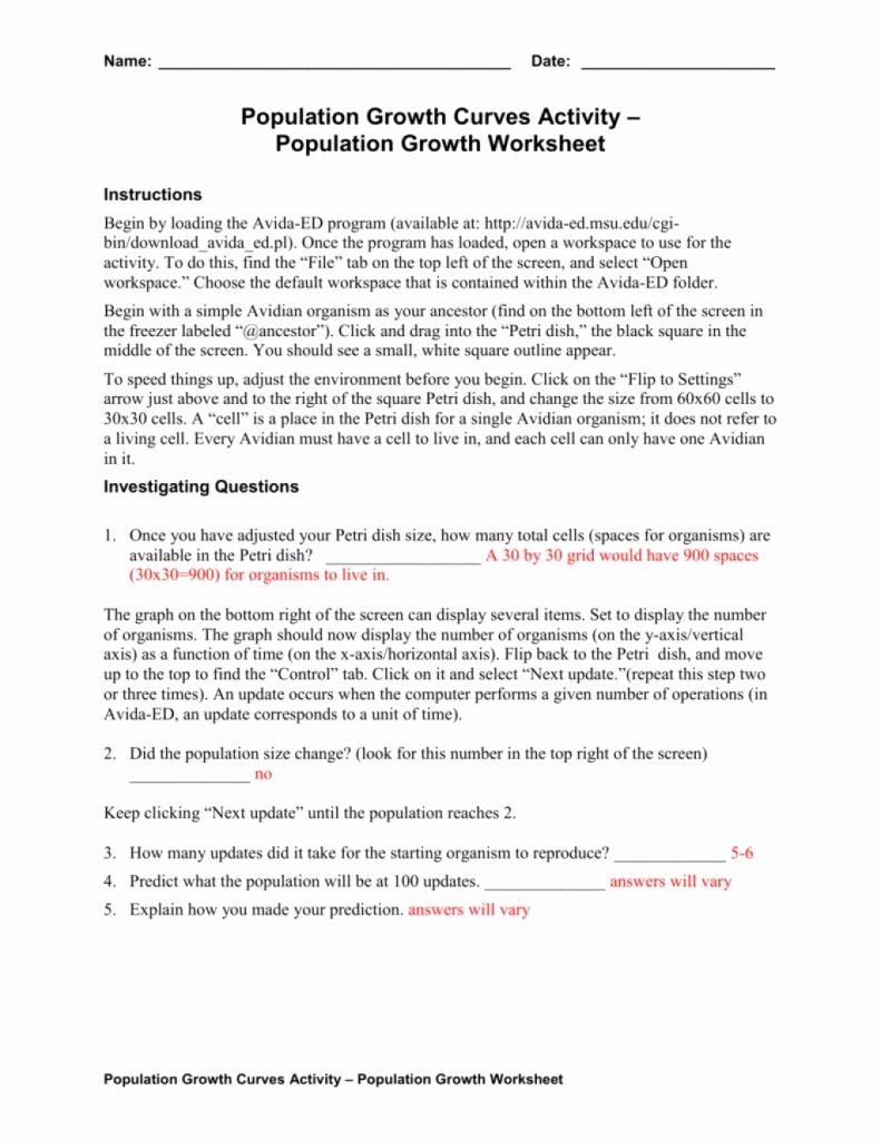 Population Growth Worksheet Answers Elegant top 10 Amazing Population Growth Worksheet Answers for