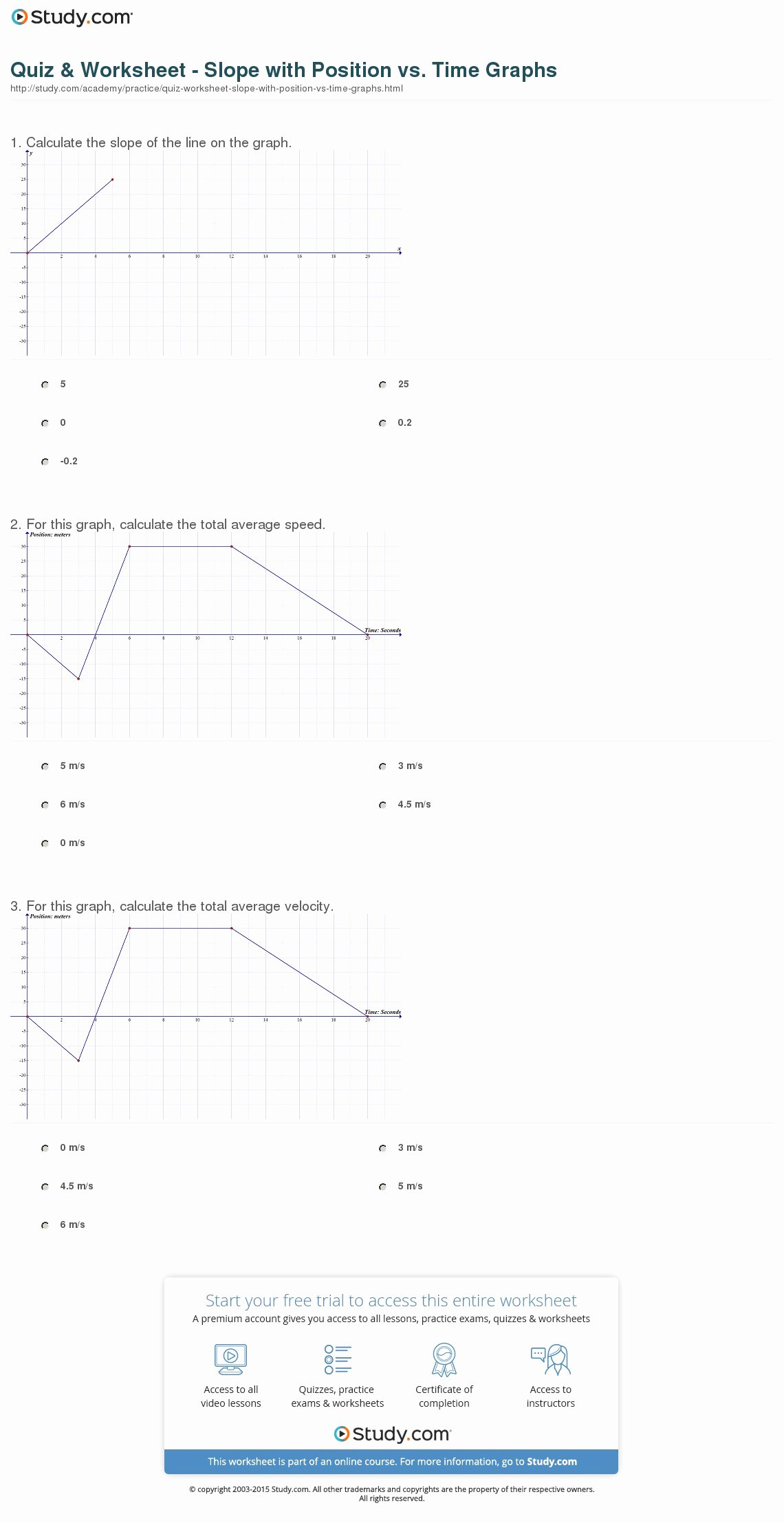 Position Time Graph Worksheet Awesome Quiz & Worksheet Slope with Position Vs Time Graphs