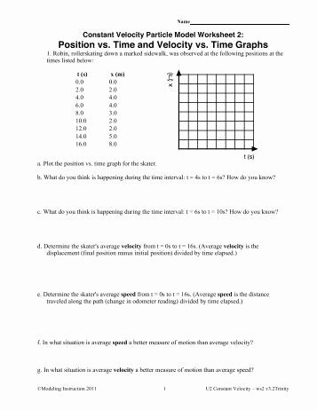 Position Time Graph Worksheet Elegant Motion Maps and Position Vs Time Graphs Modeling Physics