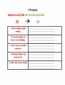 Positive Self Talk Worksheet Awesome social Skills Changing Negative Self Talk to Positive