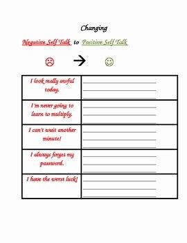 Positive Self Talk Worksheet Awesome social Skills Changing Negative Self Talk to Positive