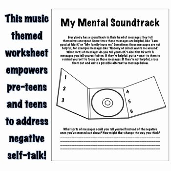 Positive Self Talk Worksheet Beautiful My Mental soundtrack Positive Self Talk Self Esteem