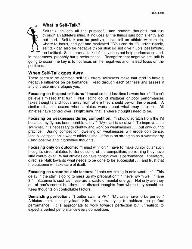 Positive Self Talk Worksheet Beautiful Selftalk