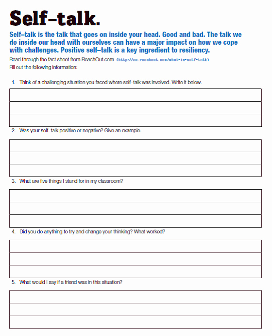 Positive Self Talk Worksheet Elegant Lesson 6 & 7 Positive Self Talk Mghs Year 8 Pride