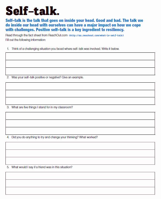 Positive Self Talk Worksheet Elegant Lesson 6 & 7 Positive Self Talk Mghs Year 8 Pride