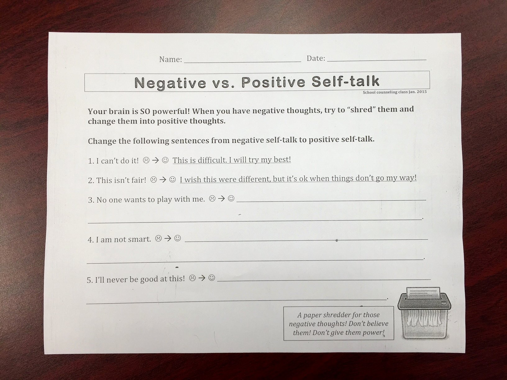 Positive Self Talk Worksheet Elegant Second Grade