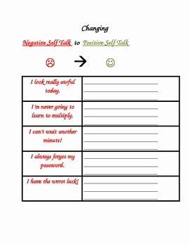 Positive Self Talk Worksheet Fresh 172 Best Positive Thinking Lf Talk Cbt Images On