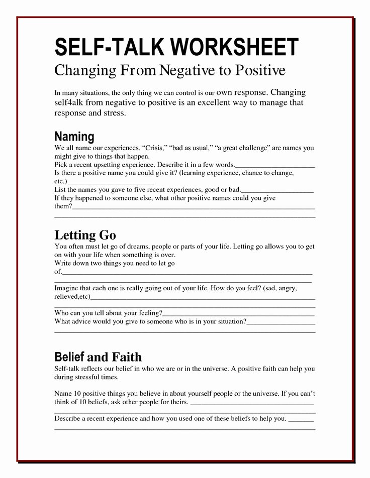 Positive Self Talk Worksheet Fresh 25 Best Ideas About therapy Worksheets On Pinterest