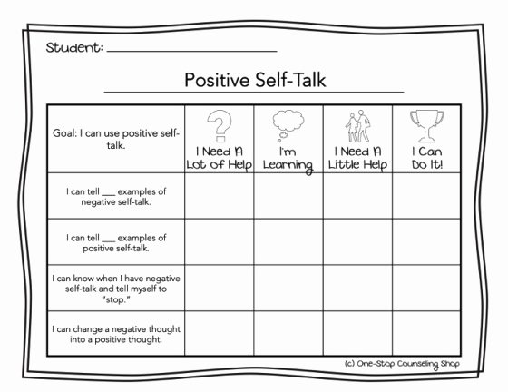Positive Self Talk Worksheet Fresh E Stop Counseling Shop Fun Freebie Self Esteem Rubrics