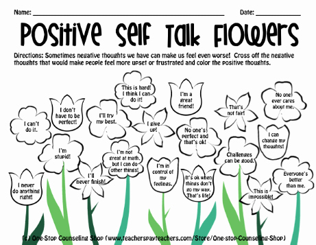 Positive Self Talk Worksheet Fresh New Product Spring Holiday social Emotional Activity