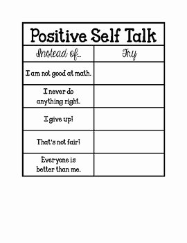 Positive Self Talk Worksheet Lovely Positive Self Talk Poster and Notebook Activity Adapted