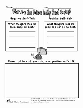 Positive Self Talk Worksheet Lovely Positive Self Talk Worksheet by Henry S tools
