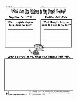 Positive Self Talk Worksheet Lovely Positive Self Talk Worksheet by Henry S tools